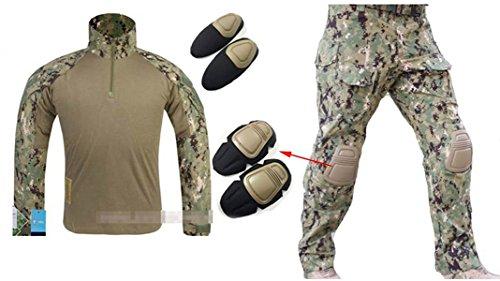 atairsoft táctico militar Emerson Gen3G3hombres caza combate camuflaje traje (camiseta y pantalones con protección codo rodilla almohadillas) AOR2, XXL, AOR2
