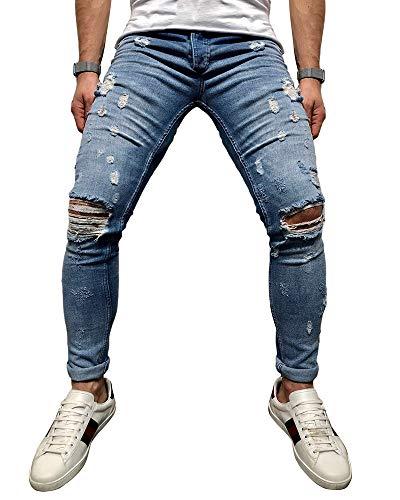 BMEIG Herren Skinny Jeans Destroyed Ripped Zerrissene Slim Fit Stretch Distressed Denim Basic Männer Jeanshose Designer S-4XL Blau - Classic Distressed Jeans