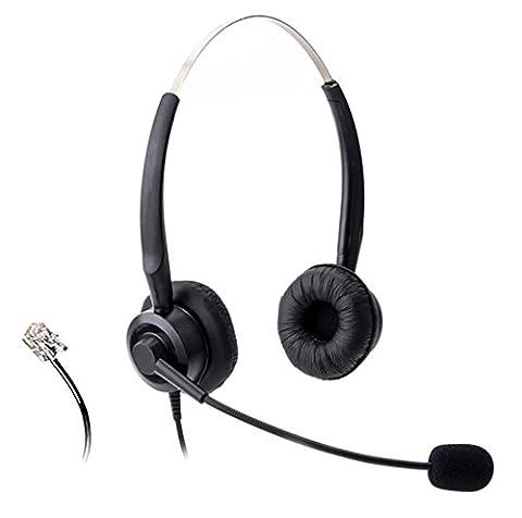 Wantek Binaural Call Center Téléphone Casque avec Flexible Noise Cancelling Micro for Avaya 1608 1616 9620 9640 et Altigen 805 Cortelco Fanvil C58 C58P C62 C66 Yealink T48G IP Téléphones(H220P01D)