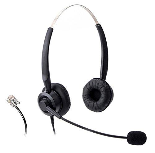 Wantek Call Center Telefon Headset Binaural Kopfhörer mit Mikrofon für Avaya 1608...