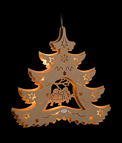 Erzgebirgsstübchen Fensterbild Fichte Vogeltrio beleuchtetes Fensterbild aus Holz Weihnachtsdeko Lichterecke, Lichtertanne Weihnachten