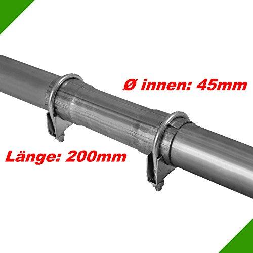 Ø 45x200mm Abgasanlage Verbindungsstück Universal Reparaturrohr Rohr mit Aufweitung Auspuff Schelle Doppelschelle Rohrschelle Klemmstück Rohrverbinder