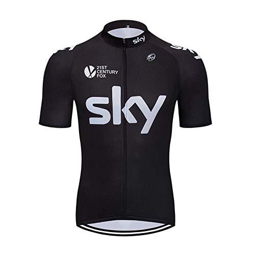 SUHINFE Herren Radtrikot Fahrrad Trikot Kurzarm Schnelltrocknend Atmungsaktives Shirt, Sky-BLK, XXXXL -