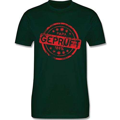 Eltern - Papa geprüft - L190 Herren Premium Rundhals T-Shirt Dunkelgrün