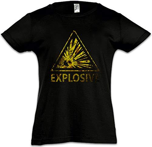 031b2106b53e37 Urban Backwoods Caution Explosive Vintage Logo Sign Camiseta para Niñas  Chicas niños T-Shirt Warning