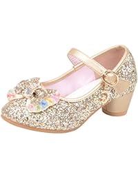 Mitlfuny Zapatos de Tango Latino para Niños Vestir Fiesta Arco Princesa Sandalias Perla Rhinestone Lentejuelas Zapatitos