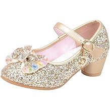 692625352 Mitlfuny Zapatos de Tango Latino para Niños Vestir Fiesta Arco Princesa  Sandalias Perla Rhinestone Lentejuelas Zapatitos