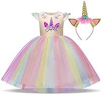 TTYAOVO Girls Unicorn Fancy Princess Dress Kids Flower Pageant Party Dress Sleeveless Ruffles Dresses