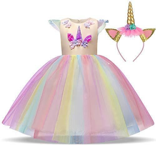 TTYAOVO Mädchen Einhorn Phantasie Prinzessin Kleid Kinder Blume Pageant Party Kleid Ärmellose Rüschen Kleider Größe 7-8 Jahre (Kleines Mädchen Pageant Kostüme)