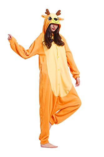 mi Kostüm Anime Tier Cosplay Hoodie Onesie Erwachsene Pyjamas Cartoon Party Halloween Nachtwäsche (Sika Deer) Größe M (Wunderliche Halloween-kostüme)