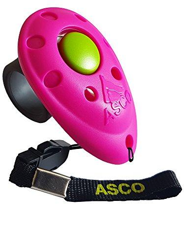 ASCO Premium Clicker , Finger Clicker für Clickertraining , Hunde Katzen Pferde Profi Clicker , Hundetraining Klicker pink AC08F
