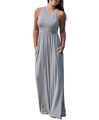 Chicolife Womens Girls Summer Vest Tank Maxi Dress Sans manches Long Sundress Rose