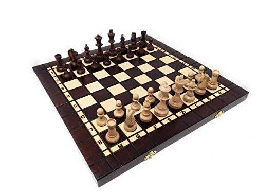 NUEVO juego de ajedrez de madera NR 141 con juego de backgammon / calidad premium grande