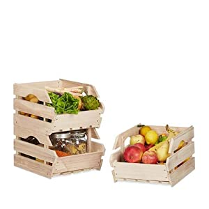 Relaxdays Stapelkisten Holz, 3er Set Stapelbox universal, stabile Lagerkisten zum Stapeln, HxBxT: 20×27,5×38 cm, natur