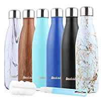 Becko Sport Water Bottle No Leak Gym Bottle Double Wall Vacuum Stainless Steel Bottle for Outdoor Sports 500ml (Marble A, 500ml)