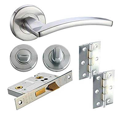 Door Handle Pack Internal Bathroom WC Lock & Hinges Toledo Lever Satin Chrome produced by DJM Direct - quick delivery from UK.