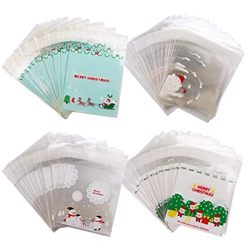 400pz Sacchetti di Natale Trasparenti Sacchettini Plastica Alimentari con Striscia Adesiva per Bomboniera Dolci Alimenti Confetti Biscotti, Sacchetti Trasparenti per Caramelle Sacchetti(Snowman)