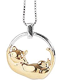 Jewboo S925 Sterling Silver A Cat Is Fishing Simple cat shape Necklace Pendant Gift XquWp5JHM
