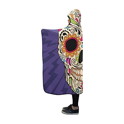 JIMO Mit Kapuze Decke Kopf Schädel Mexiko Amerika Stil Decke 60 x 50 Zoll Comfotable Mit Kapuze Throw Wrap