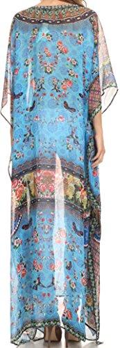 Sakkas Wilder gedruckte Entwurf lange schiere Strass Kaftan Kleid / Vertuschung Turq Bright Green / Multi