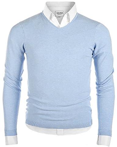 Mocotono Men's Casual Regular Fit Pullover V-Neck Sweater Cotton Knitwear Light Blue Small
