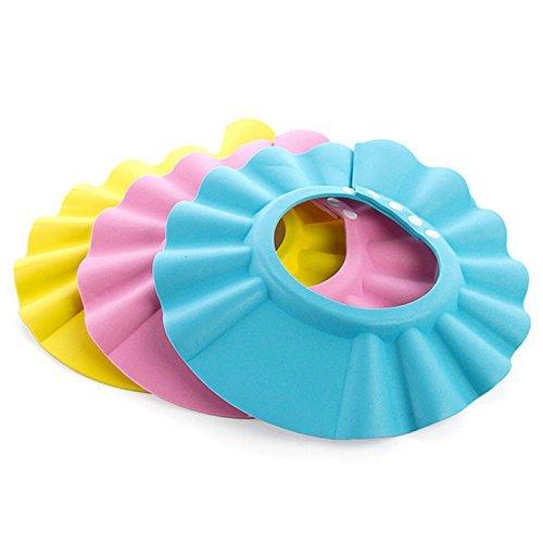 Regolabili da bagno per bambini da bagno Doccia Shampoo Cappellino Shield 3 pezzi, colore: blu, Rosa, giallo)