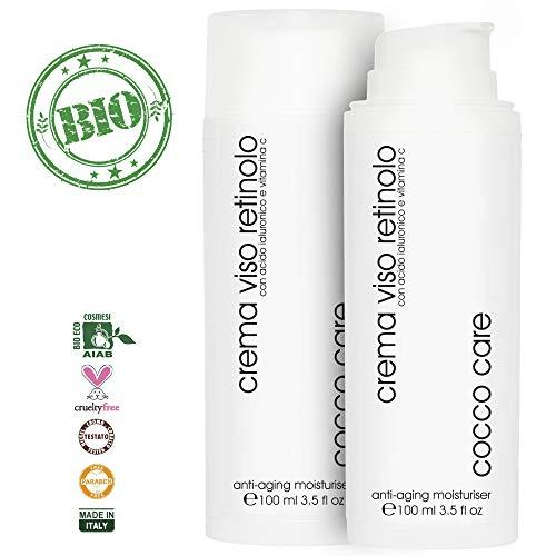 BIO Crema Viso Retinolo con Acido Ialuronico Puro e Vitamina C - ENORME Flacone da 100 ml - Contorno Occhi - Trattamento Antietà - Idratante e Tonificante per il Viso - Crema Antirughe Uomo e Donna