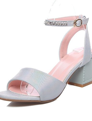 LFNLYX Scarpe Donna-Sandali-Matrimonio / Formale / Casual / Serata e festa-Tacchi-Quadrato-Finta pelle-Blu / Rosa / Bianco Blue