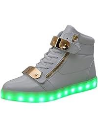 [Neue Version] Light Up Schuhe, padgene® Damen Herren High Top USB Aufladen LED-Licht bis Trainer 7Farben blinkenden Sneakers, weiß
