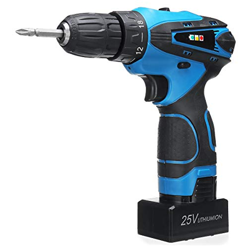 ExcLent 32 Gears Lithium Power Drills 25V Cordless Electric Screwdriver Dual Speed Two Batteries - Variable Speed Cordless Drill