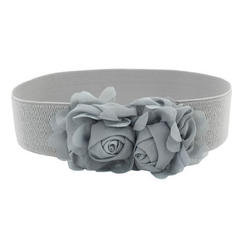 Mujer prensa Stud hebilla gasa flor Decor cintura elástica Cinch cinturón