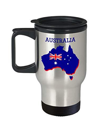 Australien Reisebecher Lustiger Tee Hot Cocoa Coffee Isolierbecher Becher Neuheit Geburtstag Weihnachten Jahrestag Gag Geschenk Idee 396 ml Silber