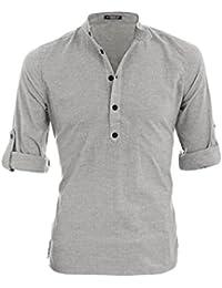 Sourcingmap Allegra K Men Grandad Collar Roll Up Sleeves Heathered Henley Shirt