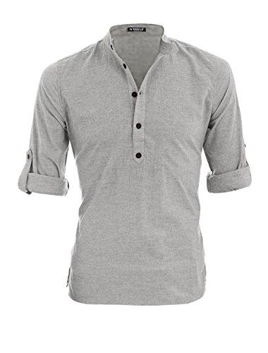 Allegra k uomo nonno, colletto maniche arrotolate violaceo henley maglietta - cotone, grigio chiaro, 100% cotone, uomo, s 36