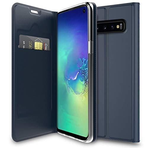 Verco Handyhülle für Galaxy S10, Premium Handy Flip Cover für Samsung Galaxy S10 Hülle [integr. Magnet] Book Case PU Leder Tasche 6,1 Zoll, Blau