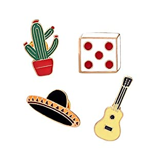 Adisaer Emaille Anzug Zubehör Brosche Damen Kaktus Würfel Gitarre Hut Form Broschen Multi Farben Mädchen 4 Stück Geschenk
