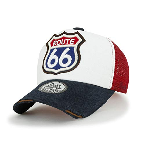 d3e9588c9 ililily Route 66 Embroidery Patch Casual Mesh Baseball cap Trucker Hat,  Navy&White