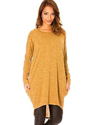 dmarkevous - Pull long Jaune moutarde femme à col rond et avec poches sur le côté - Unique, jaune