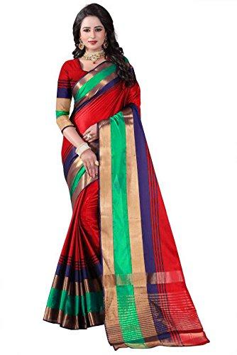 Active Women's Cotton Silk Jacquard Saree (Red Color)