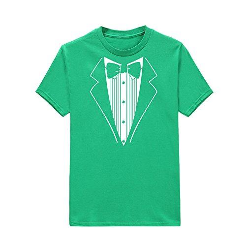 Shirt Grün Tuxedo Kostüm - TEELONG Kostüm Herren Freizeit Drucken Sie Baumwolle kurzärmel Tuxedo Fancy lustige T-Shirt Plus Bluse Top Langarmshirts T-Shirts Sweatshirt Playsuit Streetwear Kapuzenpullover(S, Grün)