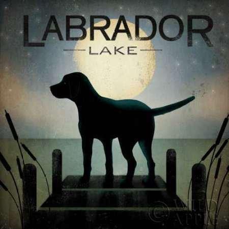 Feelingathome- imprimer-sur-toile-100%coton-Moonrise-Black-Dog---Lac-Labrador-cm86x86-affiche-reproduction-gravure-