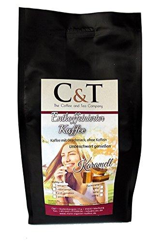 Kaffee mit Geschmack, ohne Koffein! Entkoffeinierter Kaffee mit natürlichen Aromen: Karamell GANZE...