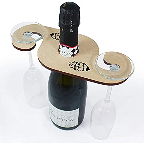 'Striped Feather' Wooden Wine Glass / Bottle Holder (GH00003535)