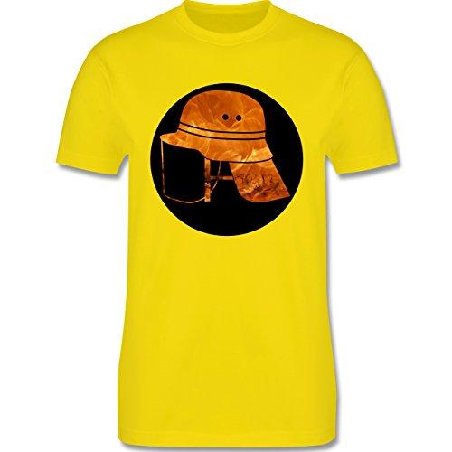 Feuerwehr - Feuerwehr Helm Flammen - Herren Premium T-Shirt Lemon Gelb