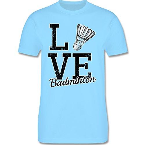 Shirtracer Sonstige Sportarten - Love Badminton - Herren T-Shirt Rundhals Hellblau