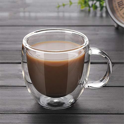RecoverLOVE Doppelwandige Latte Gläser Transparente hitzebeständige thermische Cappuccino Macchiato Kaffee Tee Milch Saft Tassen mit Griff Hohe Borosilikat-Tassen