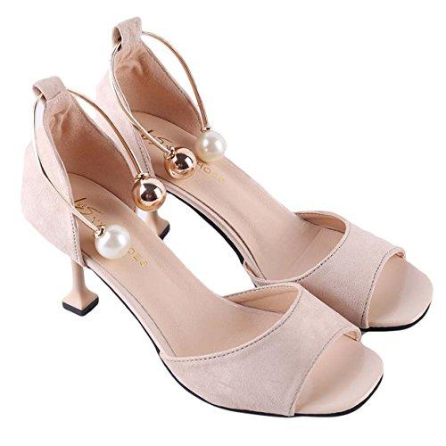 Lalang Femme Talons Hauts Chaussures Sandales à talons ouverts à sangle à cheville Beige
