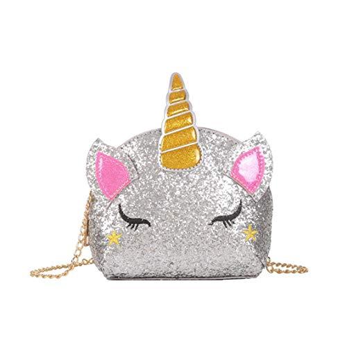 TXVSO Small Glitter Nettes Einhorn Crossbody Geldbörse Umhängetasche Handtasche Reißverschluss für Mädchen Teens Frauen, Silber