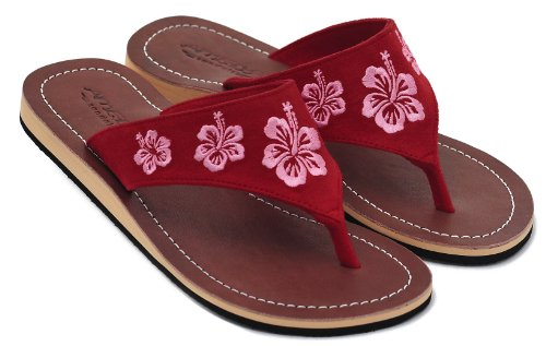 Amboss Damen Sandalen mit Echt Leder und Hibiskusblütendesign Gr.37-43 Rot