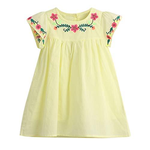 Livoral Baby Born Surprise Kleinkind Kinder Baby Mädchen Kleidung Blume Stickerei Kurzarm Prinzessin Kleid(Gelb,110)